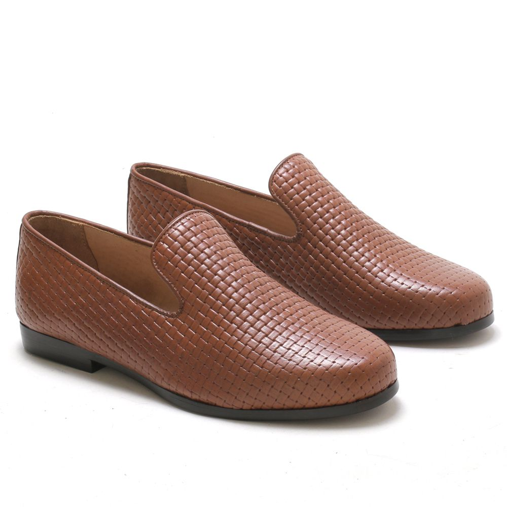 Loafer Masculino em Couro Nobre Tressê Caramelo Rocco Lorenzzo - 5010