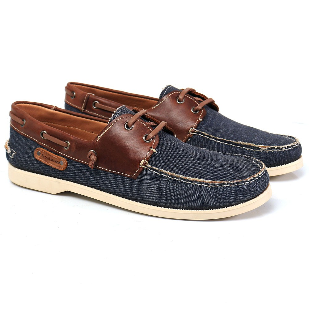 Mocassim Dockside Masculino Jeans Azul Rocco Lorenzzo - 1036