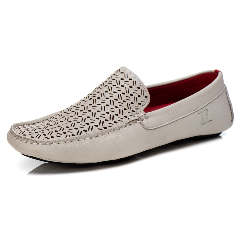 Mocassim Driver Masculino em Couro Floather Gelo Rocco Lorenzzo - 4515