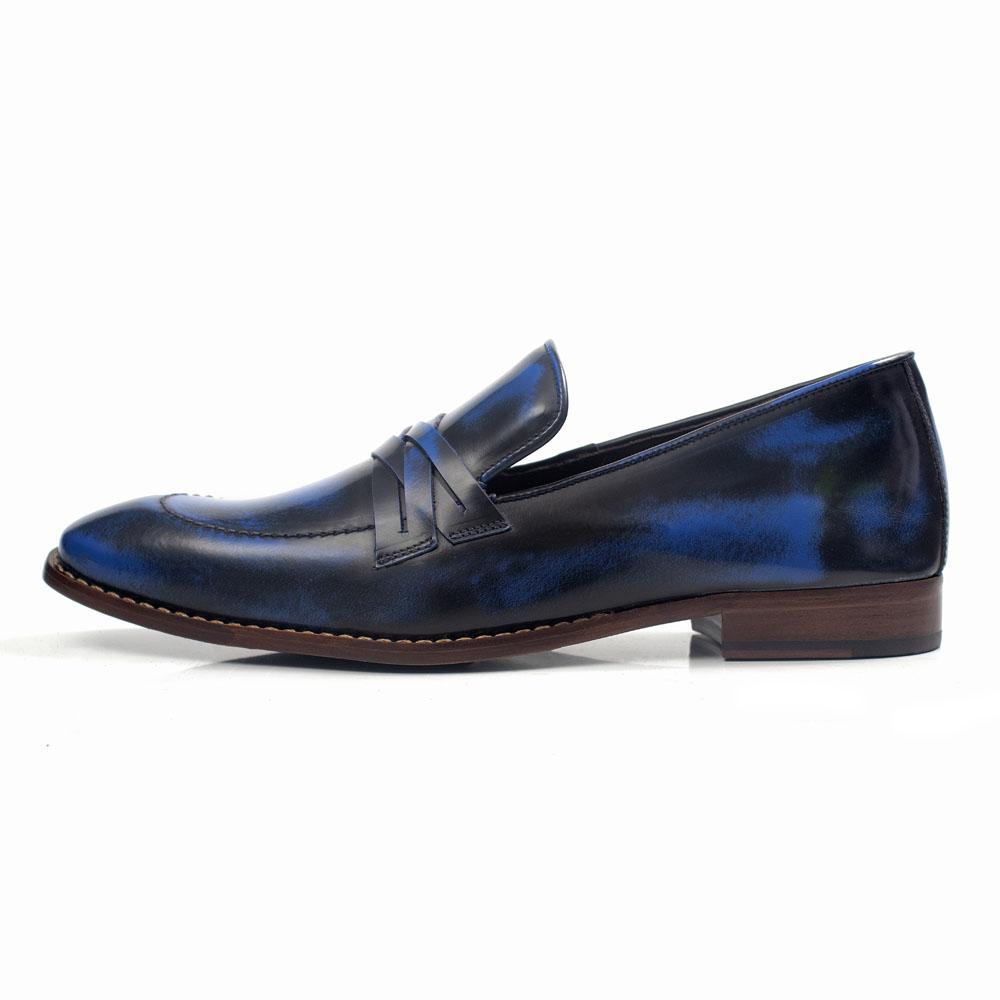 Mocassim Italiano Masculino em Couro Exclusivo Azul Com Gravata Rocco Lorenzzo - 5124