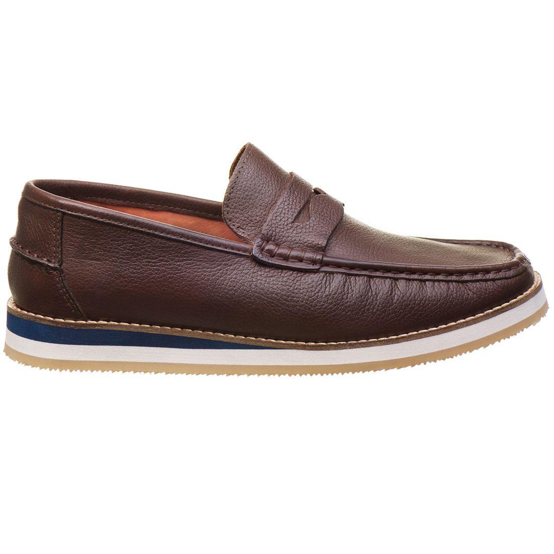 Sapato Casual Masculino em Couro Floather Café Rocco Lorenzzo - 4502