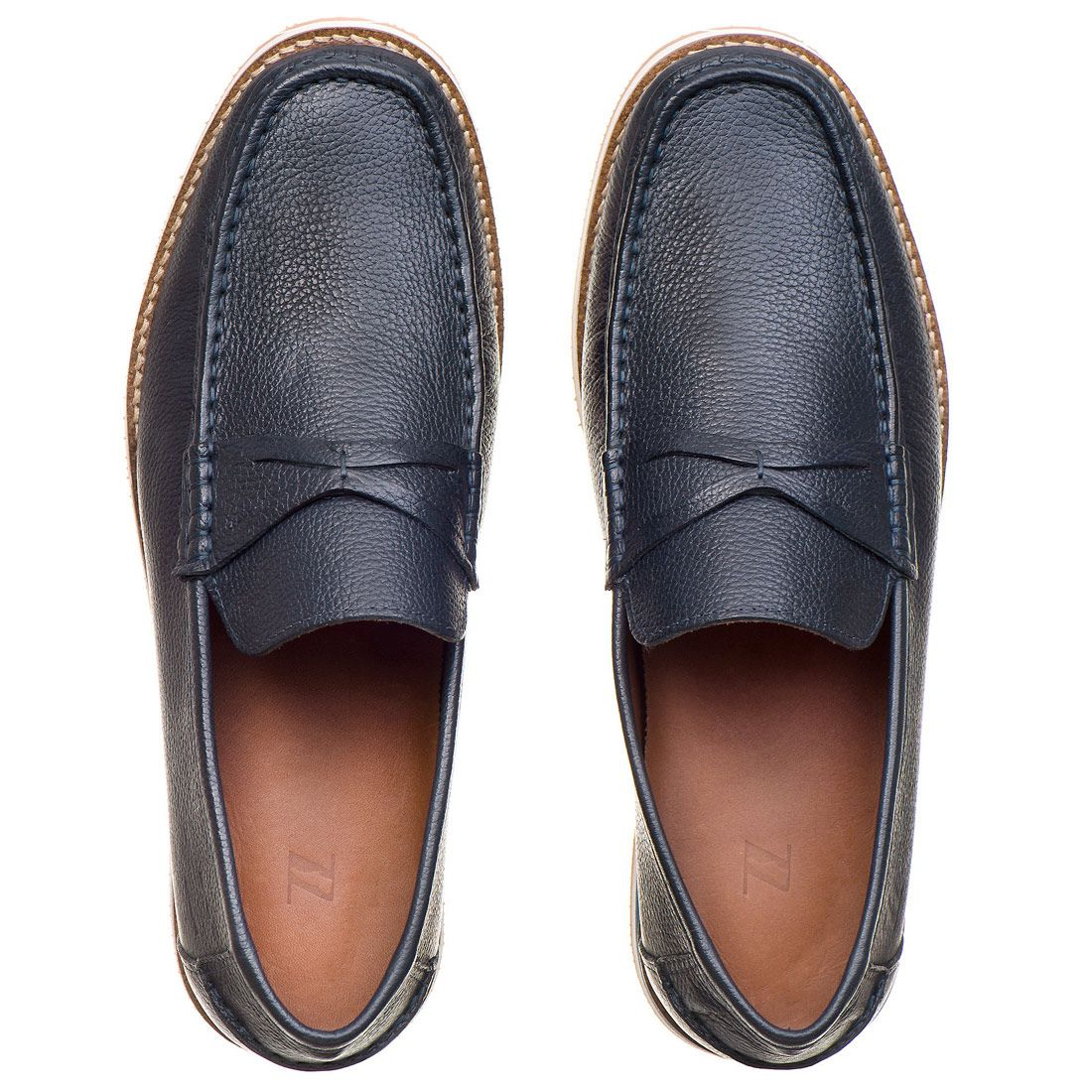 Sapato Casual Masculino em Couro Floather Marinho Rocco Lorenzzo - 4503