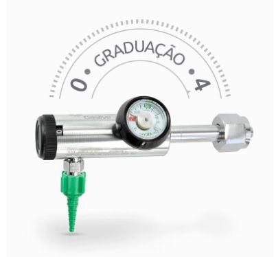 Regulador de Pressão 0-4 L/MIN com Adaptador para Bico Escalonado é recomendado para ozônioterapia e terapia neonatal: