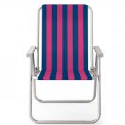Cadeira de praia alta conforto de alumínio colorida
