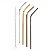 Kit 4 Canudos Colorido Inox Metal Reutilizável + Escova Tramontina