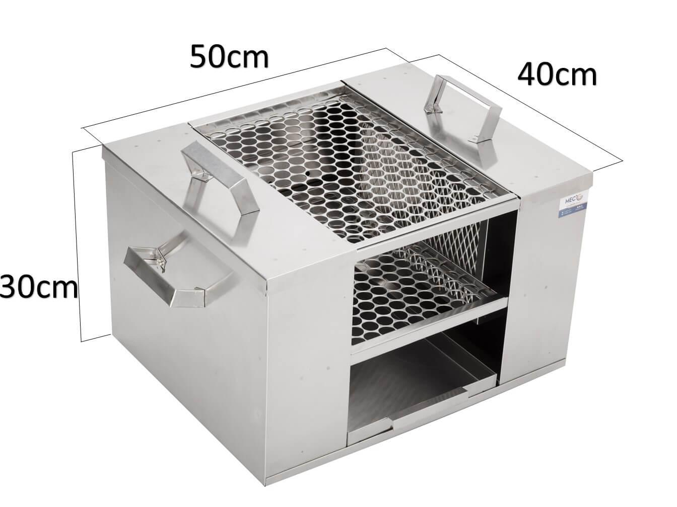 Churrasqueira Para Apartamento Ecológica Sem Fumaça De Embutir 50 cm x 40 cm Aço Inox