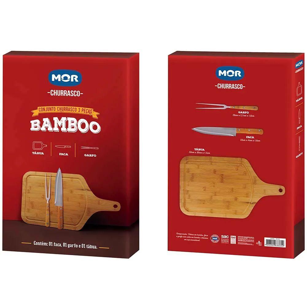 Conjunto Churrasco Bamboo Tábua com Alça Faca Garfo Trinchete