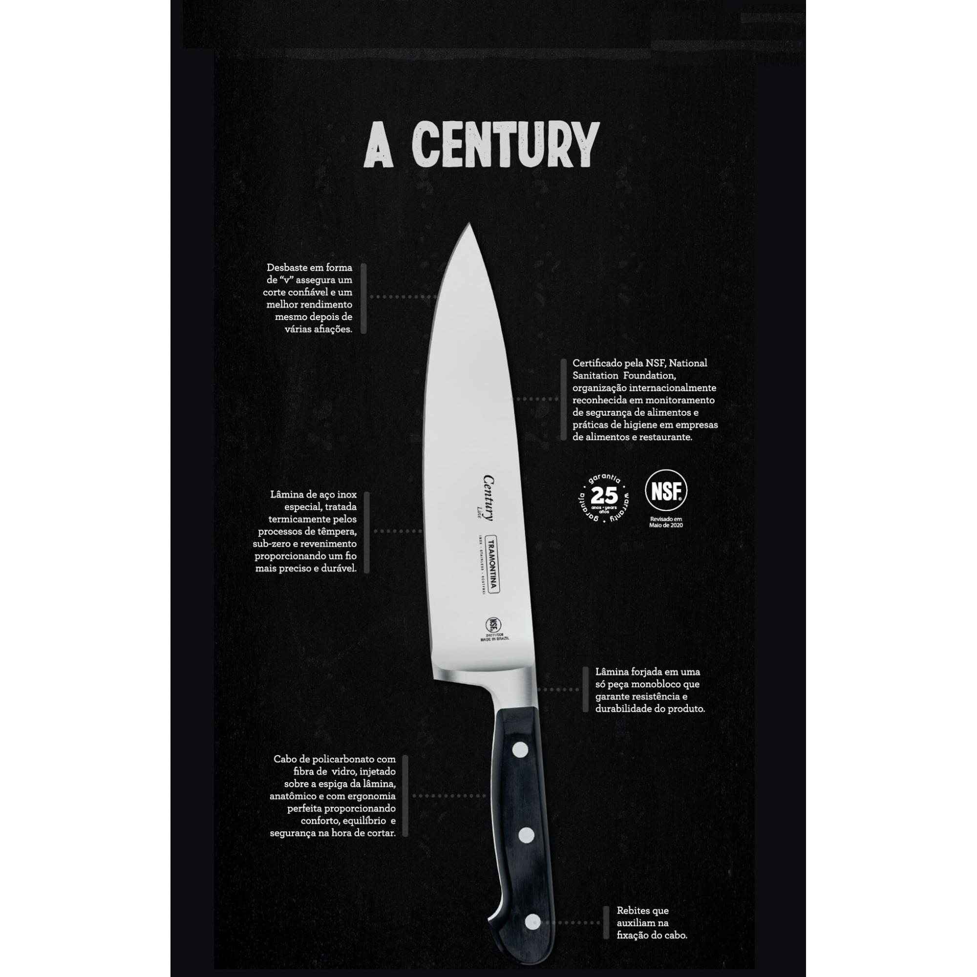 Conjunto De Facas Profissional Chef Century Tramontina 3pças