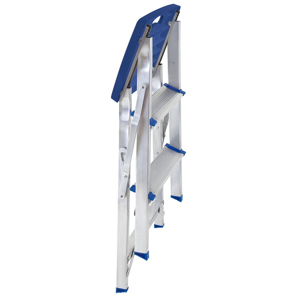 Escada Banqueta De Alumínio 3 Degraus Dobrável Prática Mor