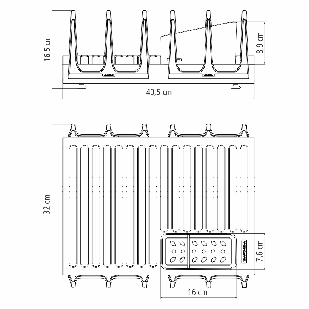 Escorredor de Louça Inox Porta-talheres Copo Tramontina Plurale