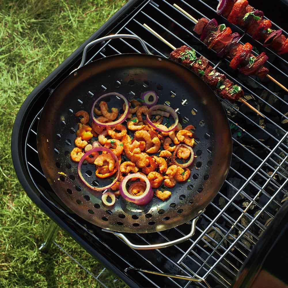 Frigideira Wok Furada Para Legumes Com Alças Aço Inox Mor