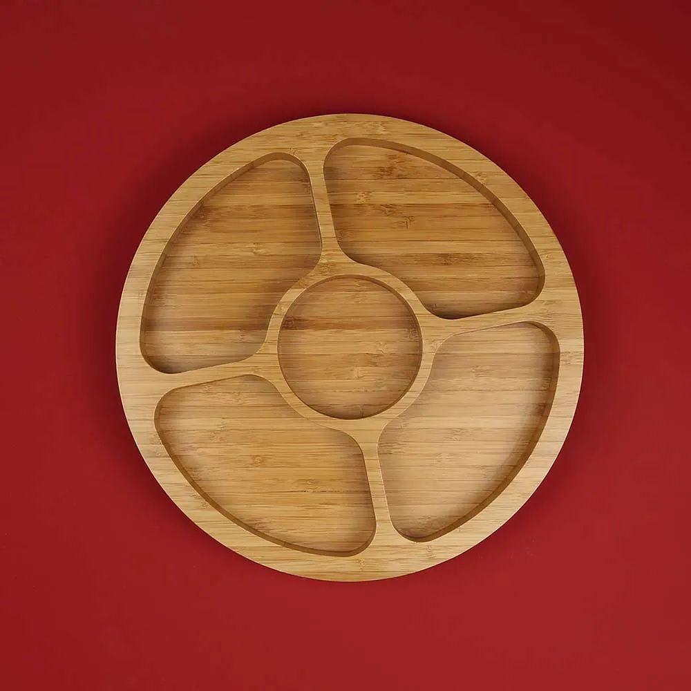 Gamela Multiuso Para Churrasco Com 5 Divisórias Bamboo