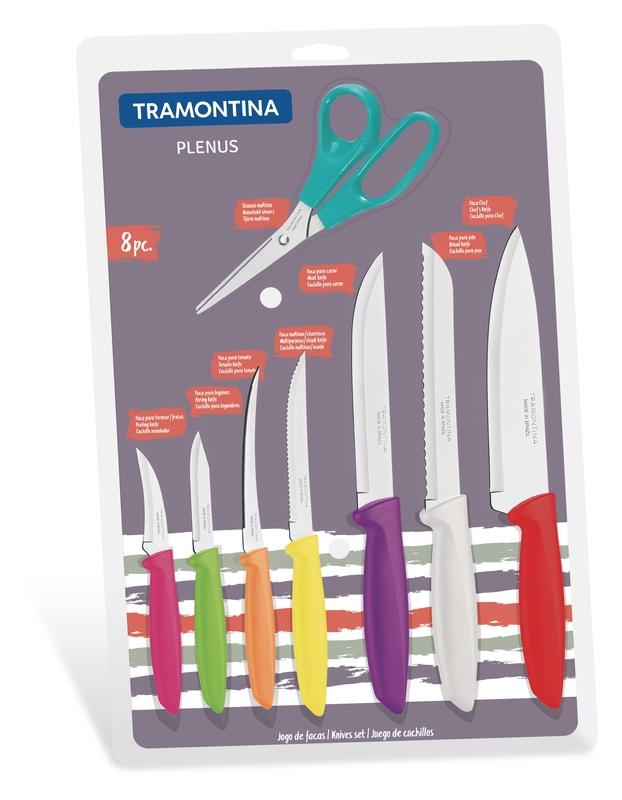 Jogo De Facas 8 Peças Colorido Plenus Para Casa Tramontina