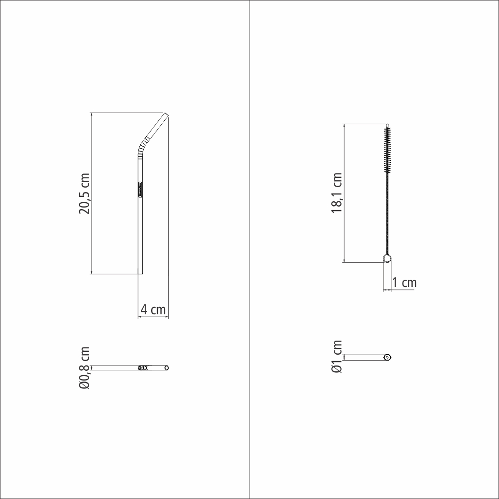 Kit 4 Canudos Inox Metal Reutilizável + Escova Tramontina