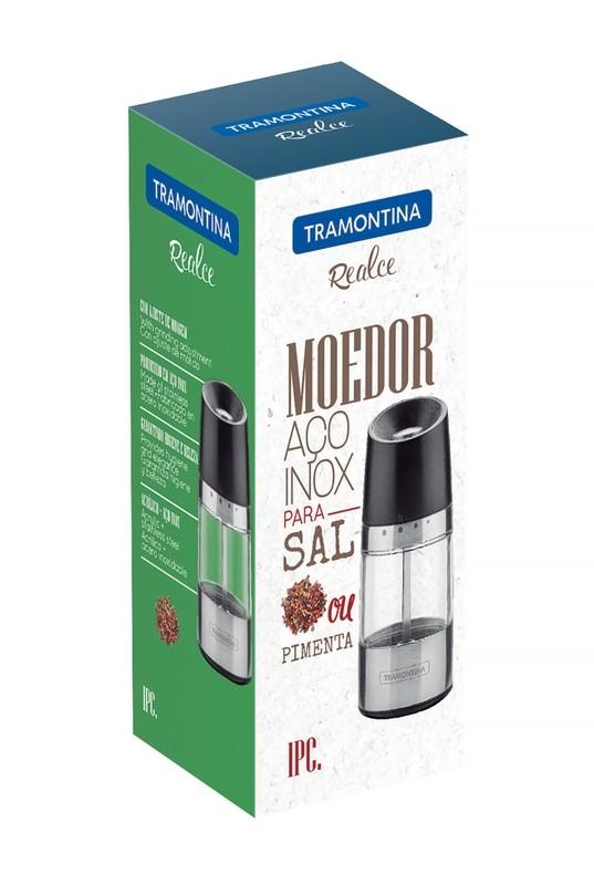 Moedor para Sal ou Pimenta Tramontina em Aço Inox e Acríli