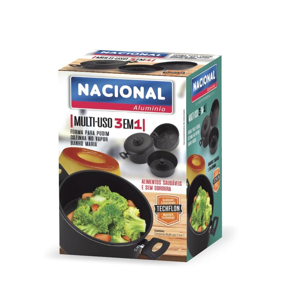 Panela Cozinhar Legumes No Vapor Multiuso 3 Em 1 Alumínio