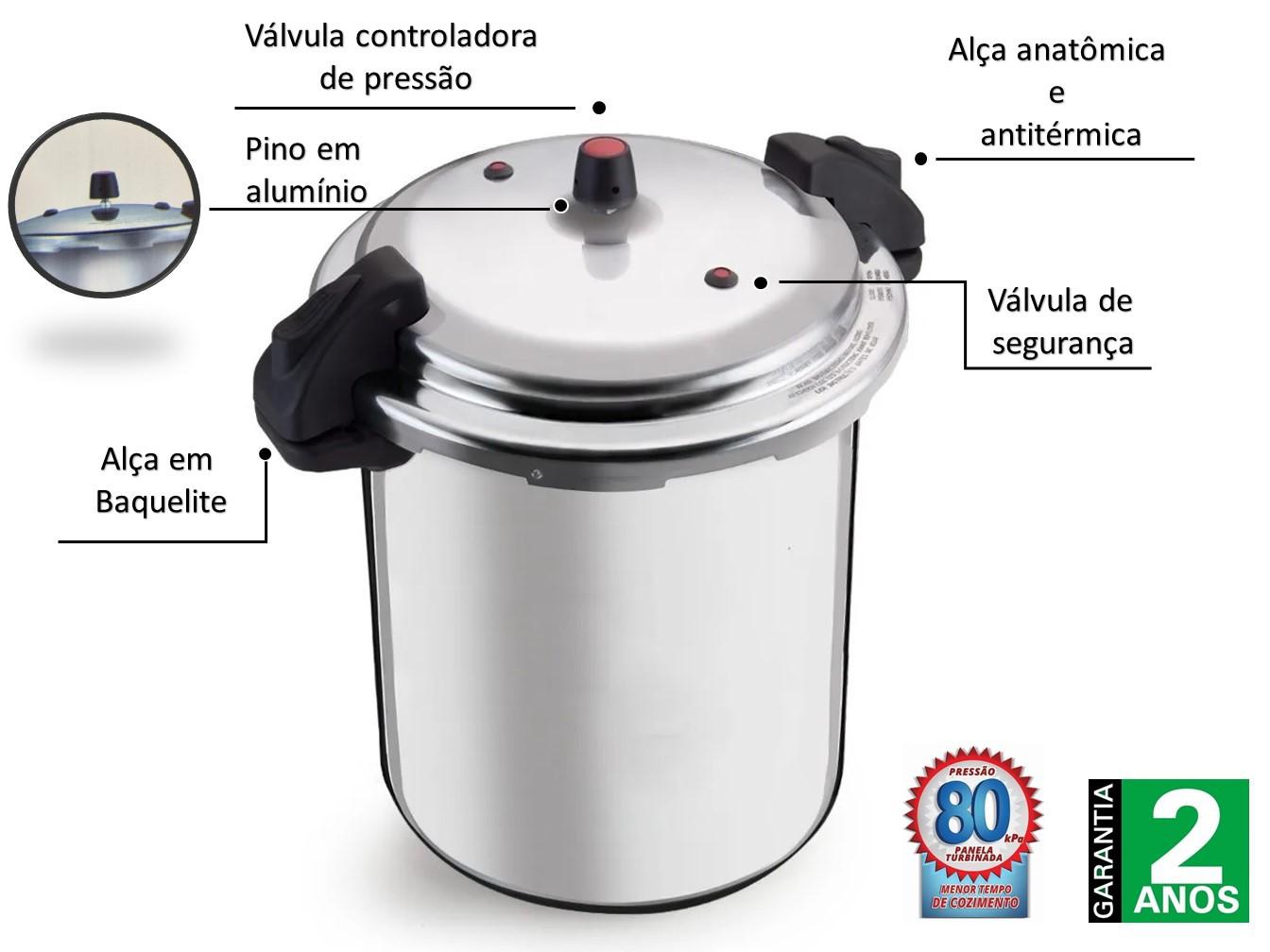 Panela Pressão Profissional Aluminio 24 L Fechamento Externo