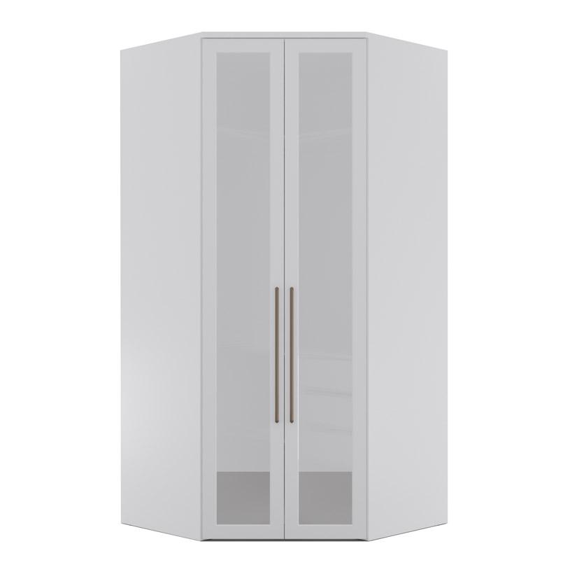 Armário Modulado Evolution Canto Closet 2 portas com gavetas cabideiro e calceiro Com Espelho Reflecta Robel Móveis - Branco