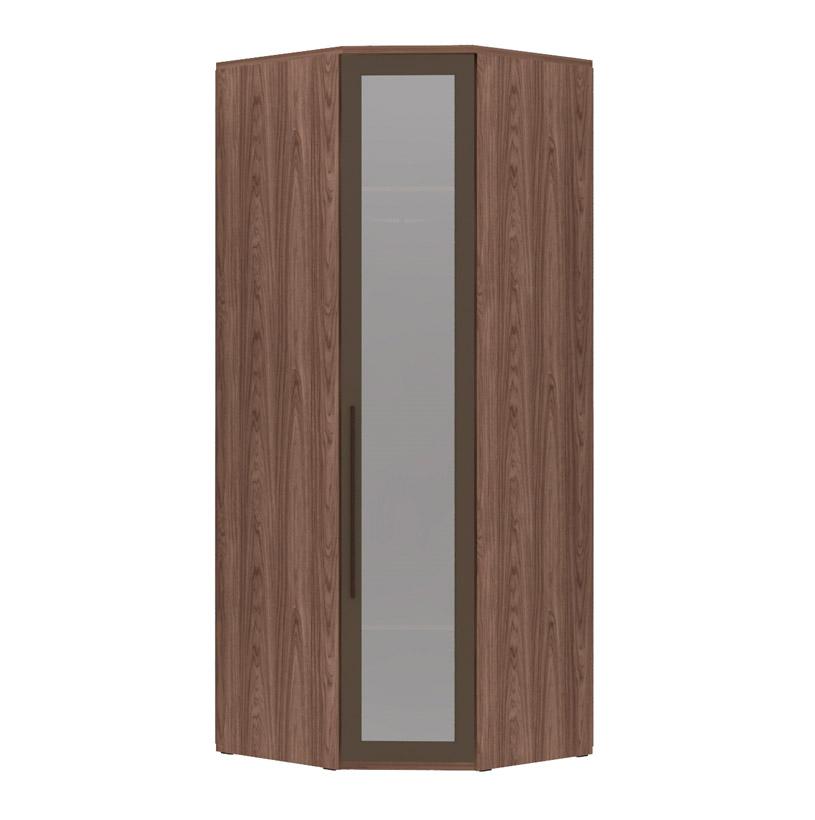 Armário Modulado Evolution Canto Oblíquo 1 porta Com Espelho Reflecta com cabideiro Robel Móveis - Capuccino