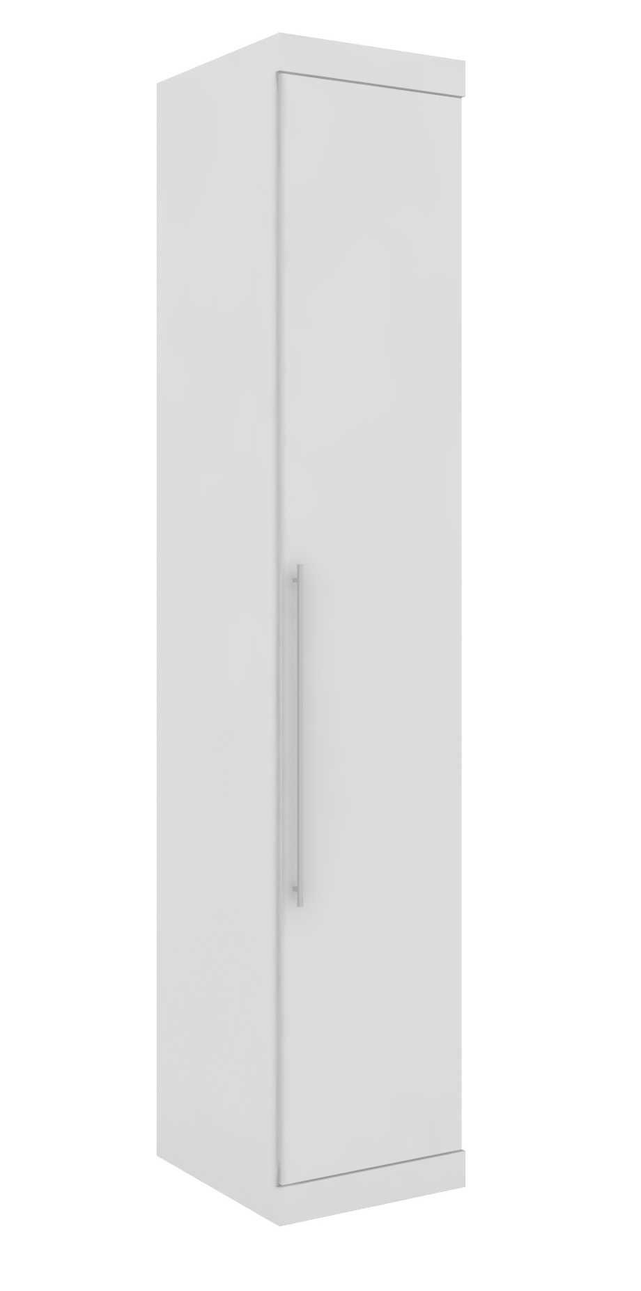 Armário Modulado Supreme 1 Porta 45cm 3 Gavetas Prateleira e 1 Cabideiro Branco Fosco e Branco Madeirado Robel Móveis