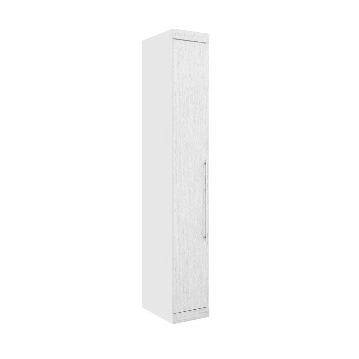 Armário Modulado Supreme 1 Porta Com Prateleira 35cm II Branco Fosco e Branco Madeirado Robel Móveis