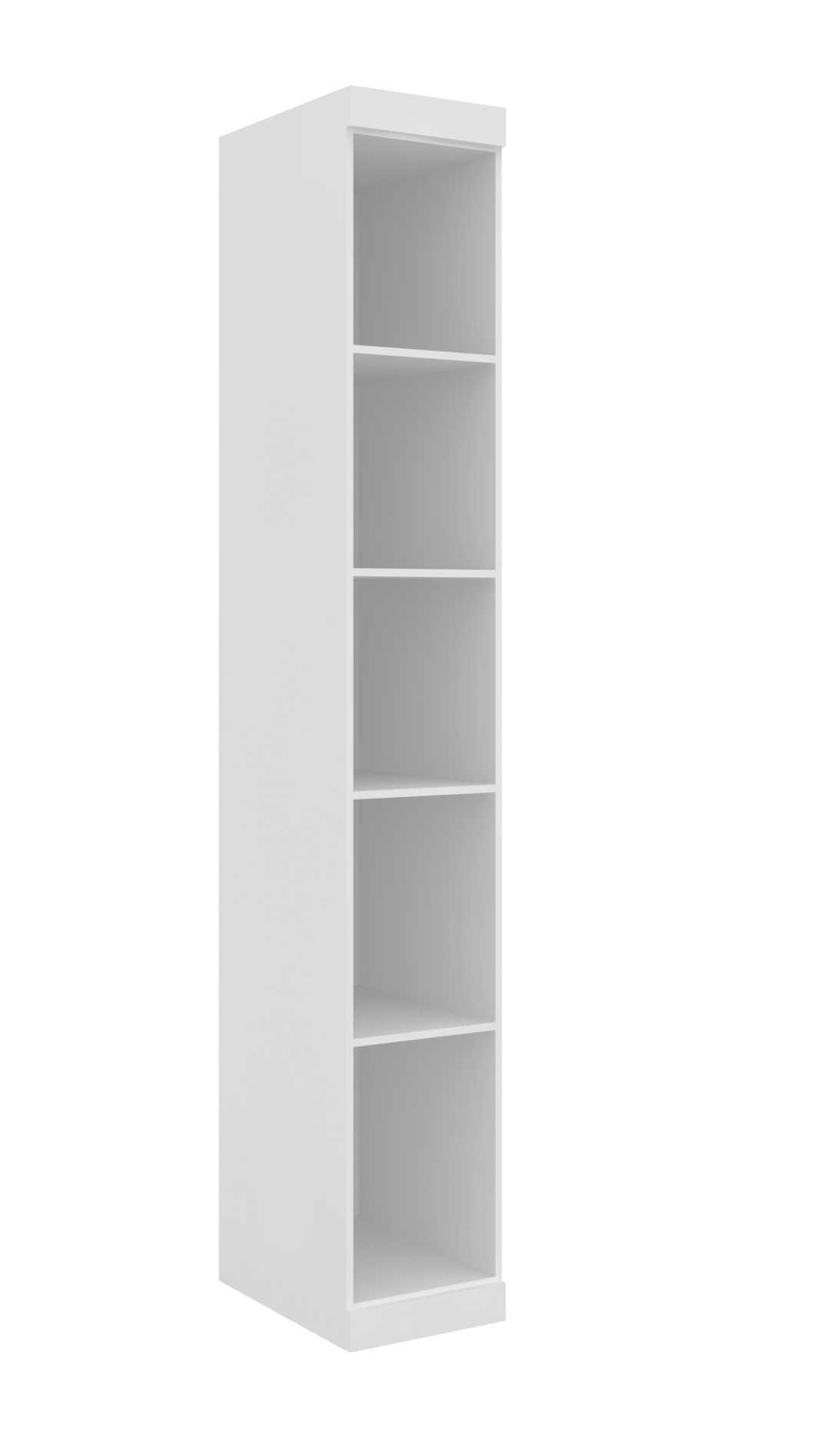 Armário Modulado Supreme 1 Porta Com Prateleira 35cm II Branco Fosco e Rovere Madeirado Robel Móveis