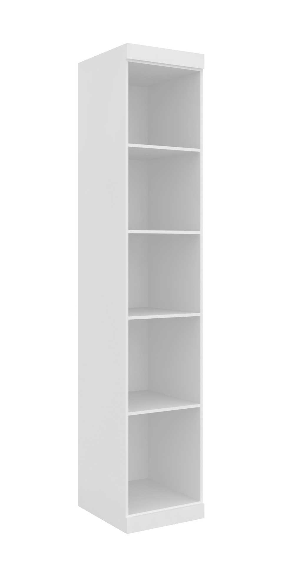 Armário Modulado Supreme 1 Porta Com Prateleiras 45cm II Branco Fosco e Branco Madeirado Robel Móveis