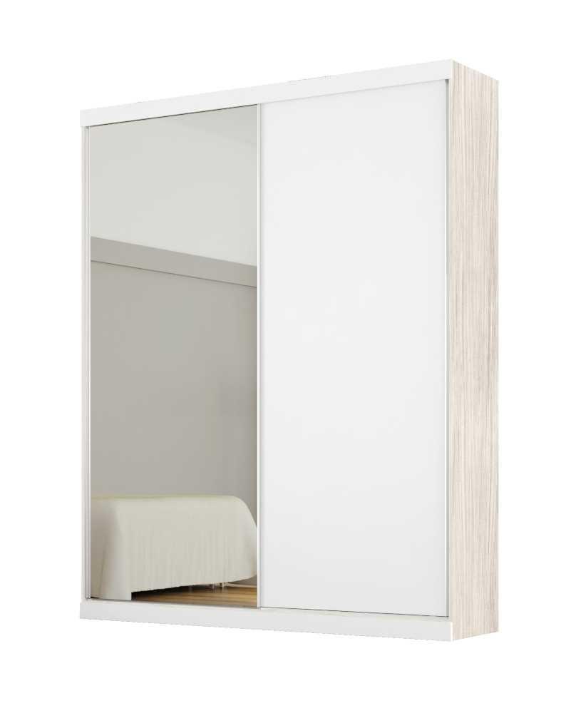 Armário Modulado Supreme 2 Portas 1,20cm com Espelho Rovere e Branco Madeirado Robel Móveis
