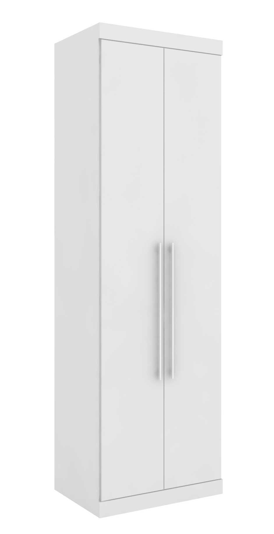 Armário Modulado Supreme 2 Portas 71cm com 3 Gavetas 1 Cabideiro Branco Fosco e Branco Madeirado Robel Móveis