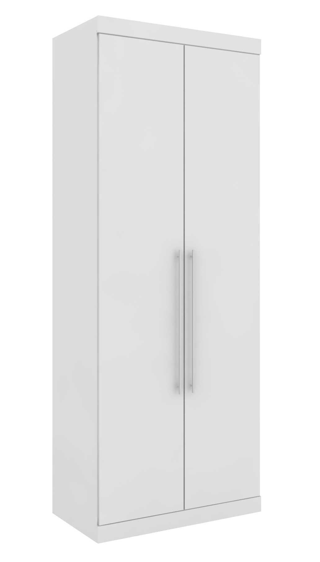 Armário Modulado Supreme 2 Portas 89cm Prateleiras  Branco Fosco e Branco Madeirado Robel Móveis