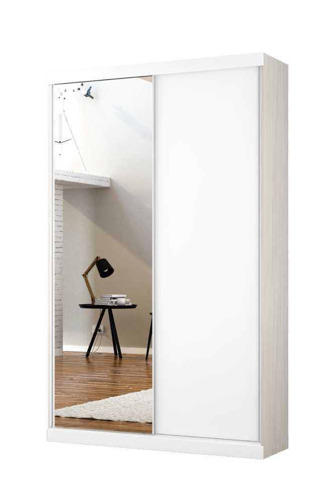 Armário Modulado Supreme 2 Portas Correr 1,20 com Espelho Rovere e Branco Madeirado Robel Móveis