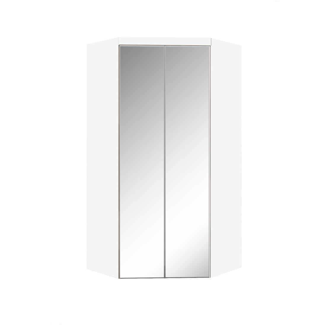 Armário Modulado Supreme Canto Closet Com Gavetas e Espelho Branco Fosco e Branco Madeirado Robel Móveis