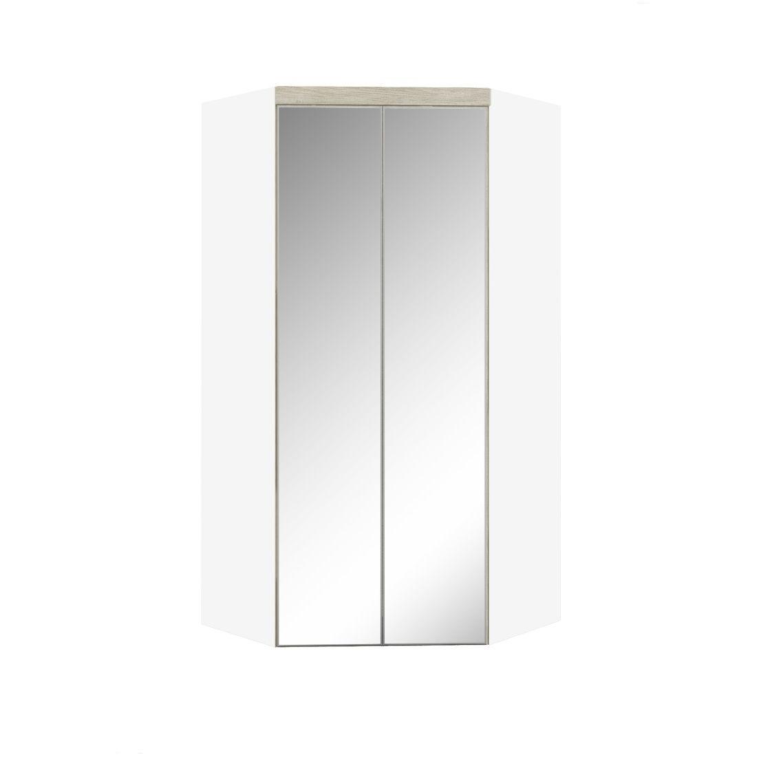 Armário Modulado Supreme Canto Closet Com Gavetas e Espelho Branco Fosco e Rovere Madeirado Robel Móveis