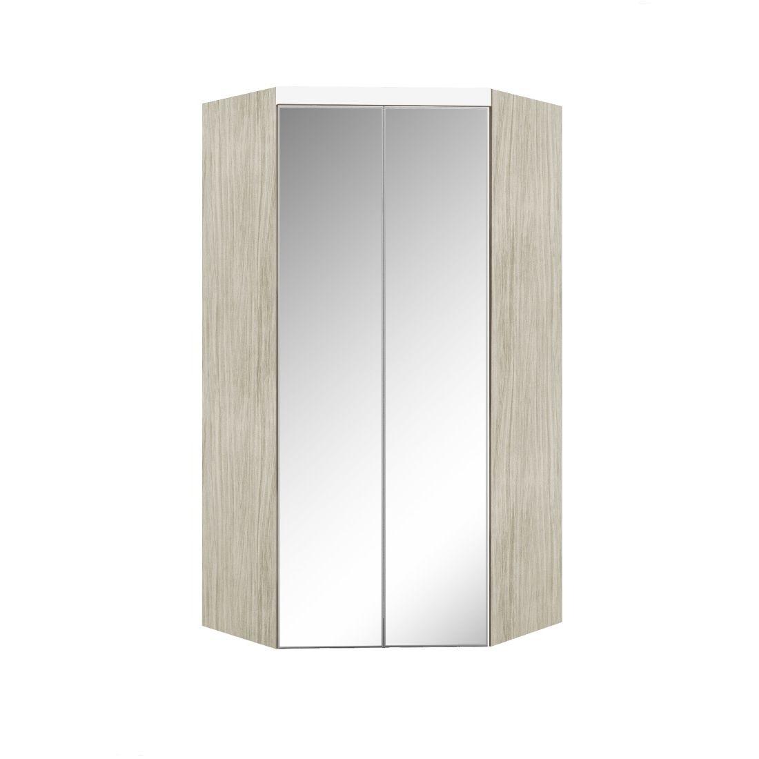 Armário Modulado Supreme Canto Closet Com Gavetas e Espelho Rovere e Branco Madeirado Robel Móveis