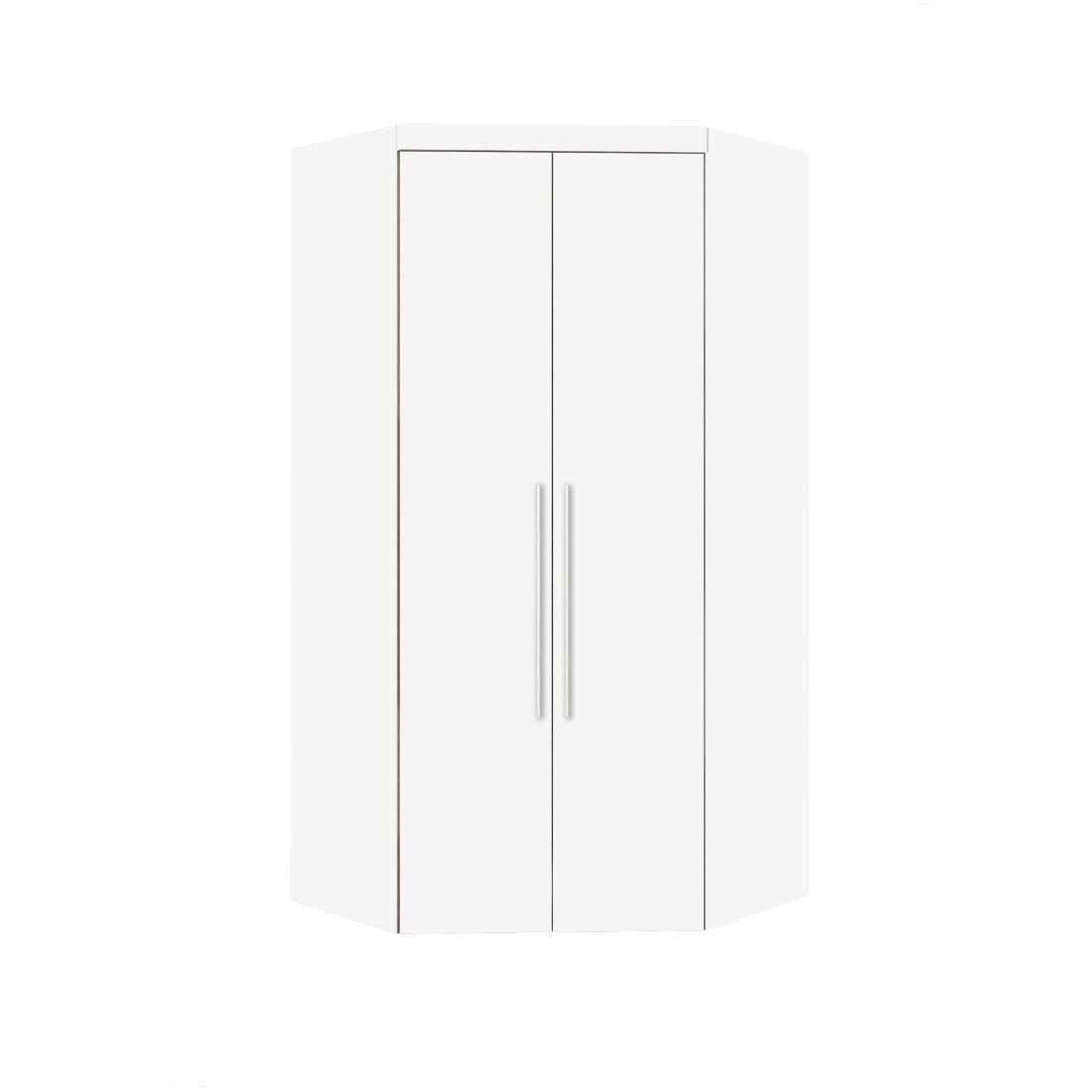 Armário Modulado Supreme Canto Closet Sem Espelho Com Gavetas Branco Fosco e Branco Madeirado Robel Móveis