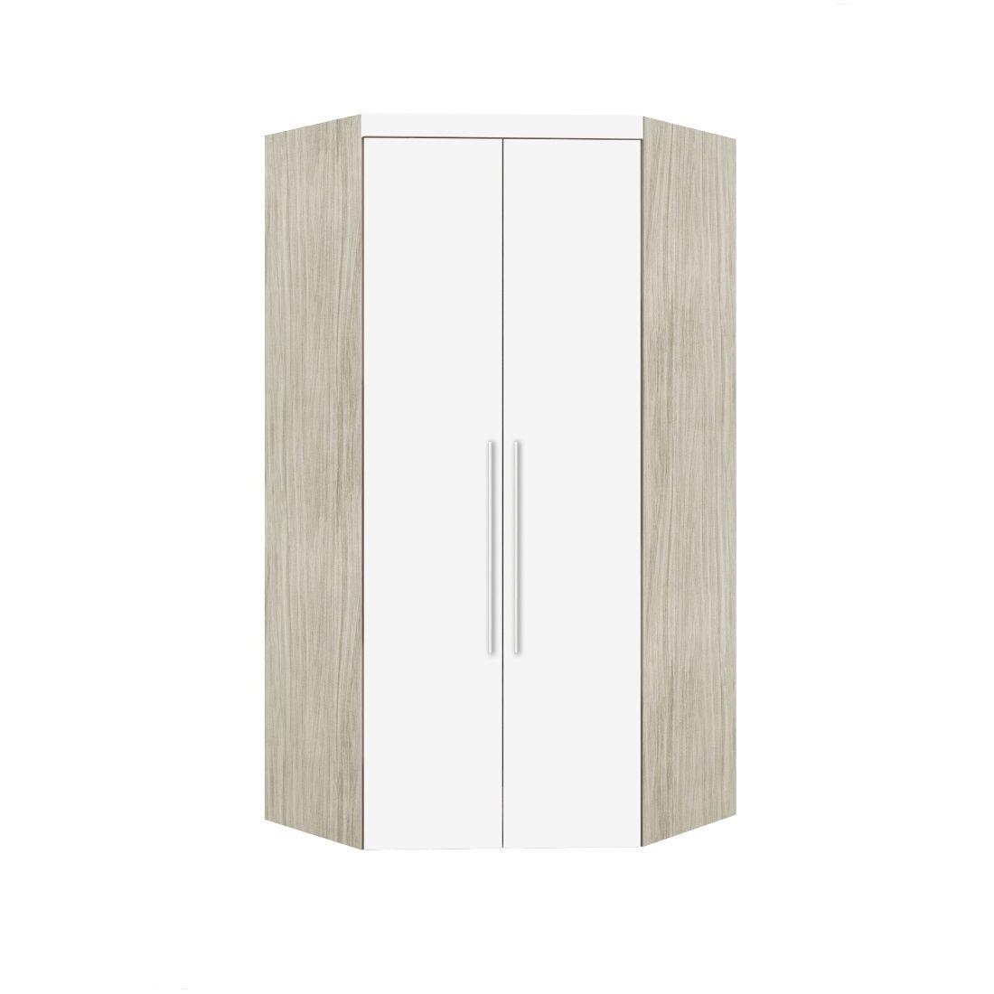 Armário Modulado Supreme Canto Closet Sem Espelho Com Gavetas Rovere e Branco Madeirado Robel Móveis