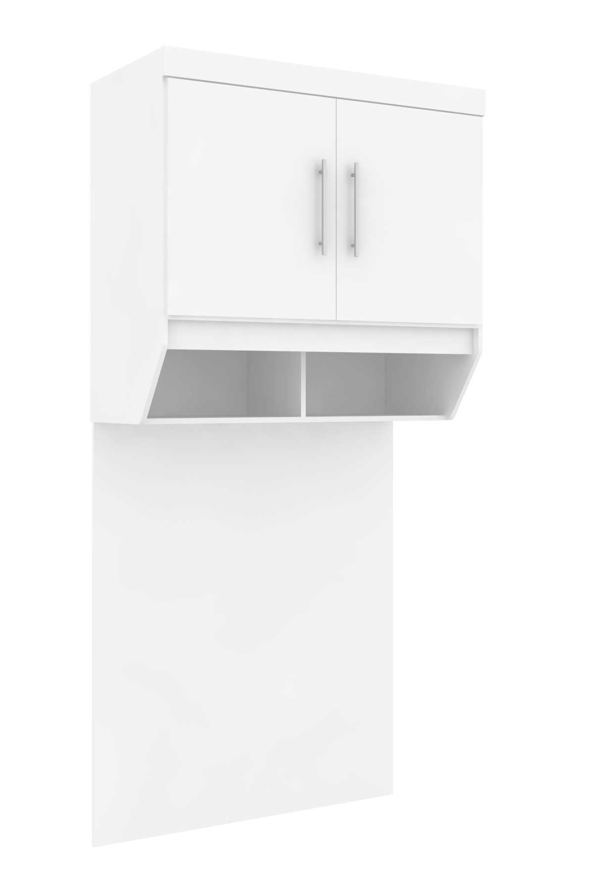 Armário Modulado Supreme Nicho Aéreo Solteiro com Painel Branco Fosco e Branco Madeirado Robel Móveis