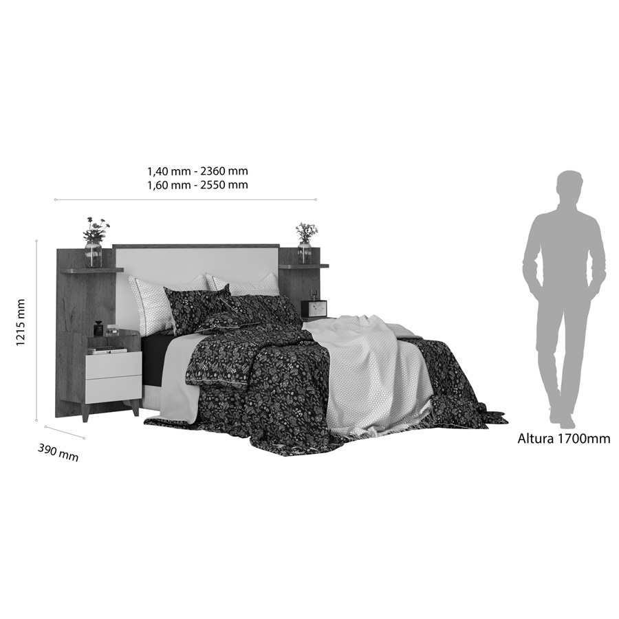 Cabeceira Box Royale Extensível com Criado 1,40m 1,60m Nature Off White Robel Móveis