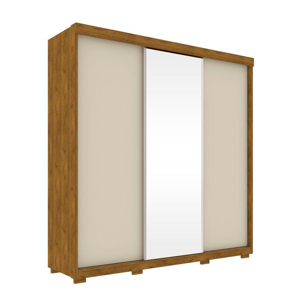 Guarda Roupa Parati 3 portas de Correr Espelho Nature Off White Robel Móveis