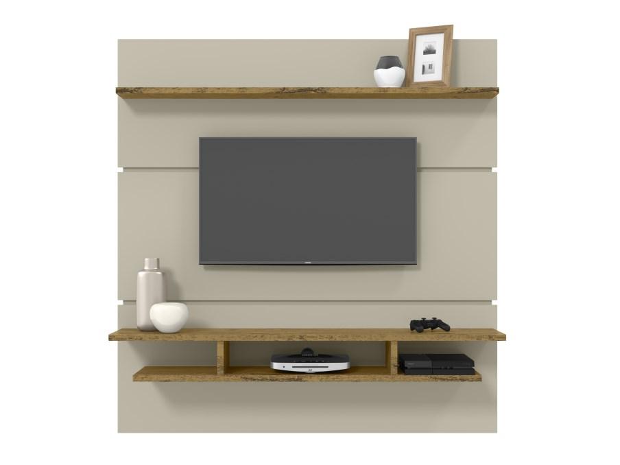 Painel para TV Adryan - Off White com Nature - Patrimar Móveis