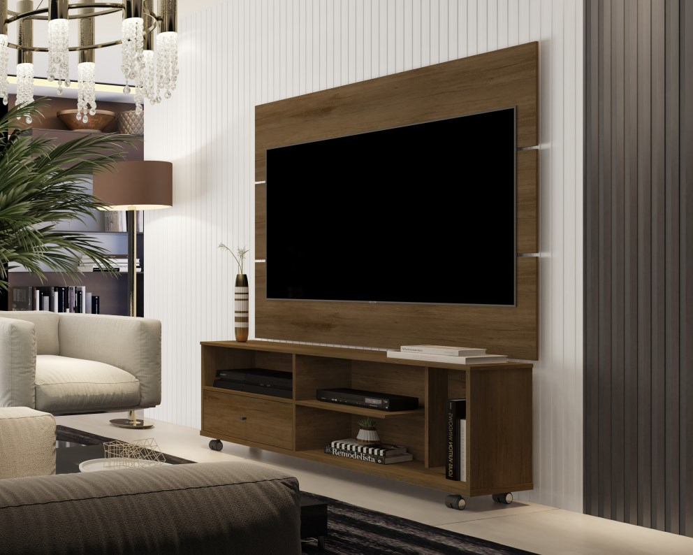 Painel Para TV JB 5303 e Bancada JB 5808 Canela - JB Bechara