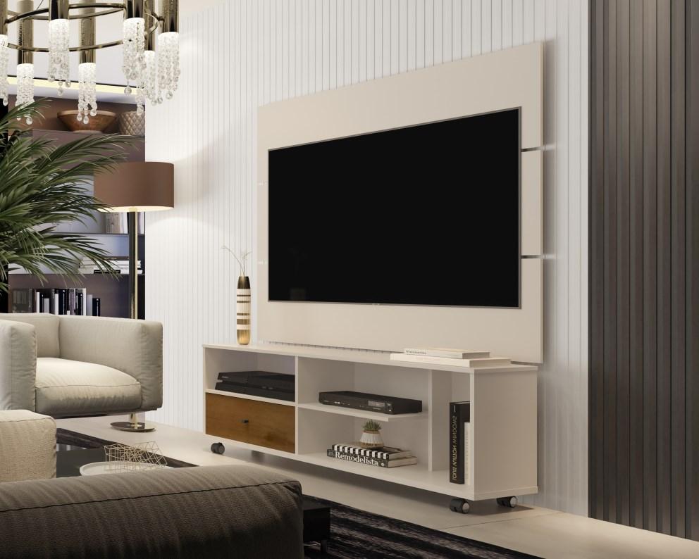 Painel Para TV JB 5303 e Bancada JB 5808 Perola/Caramelo - JB Bechara