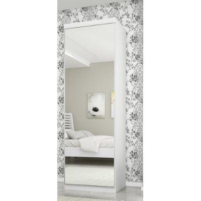 Sapateira  com Espelho Rovere Madeirado e Branco Madeirado Robel Móveis