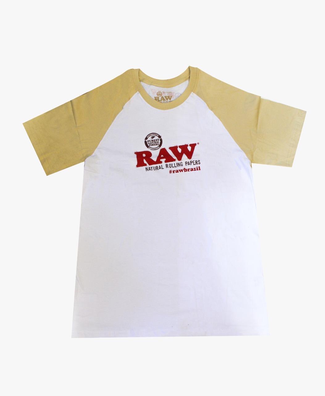 CAMISETA RAW RAGLAN BRANCA/BEGE TAM XXL