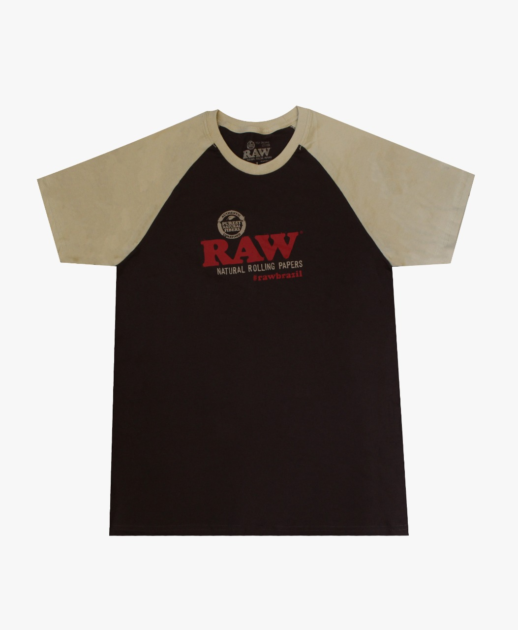 CAMISETA RAW RAGLAN MARROM/BEGE TAM S