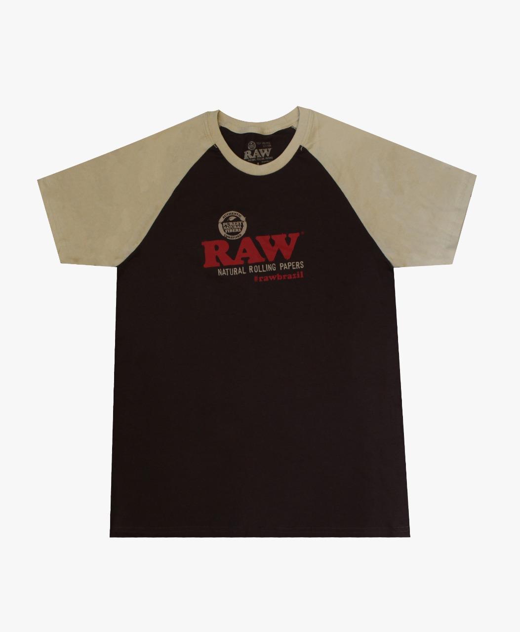 CAMISETA RAW RAGLAN MARROM/BEGE TAM XL
