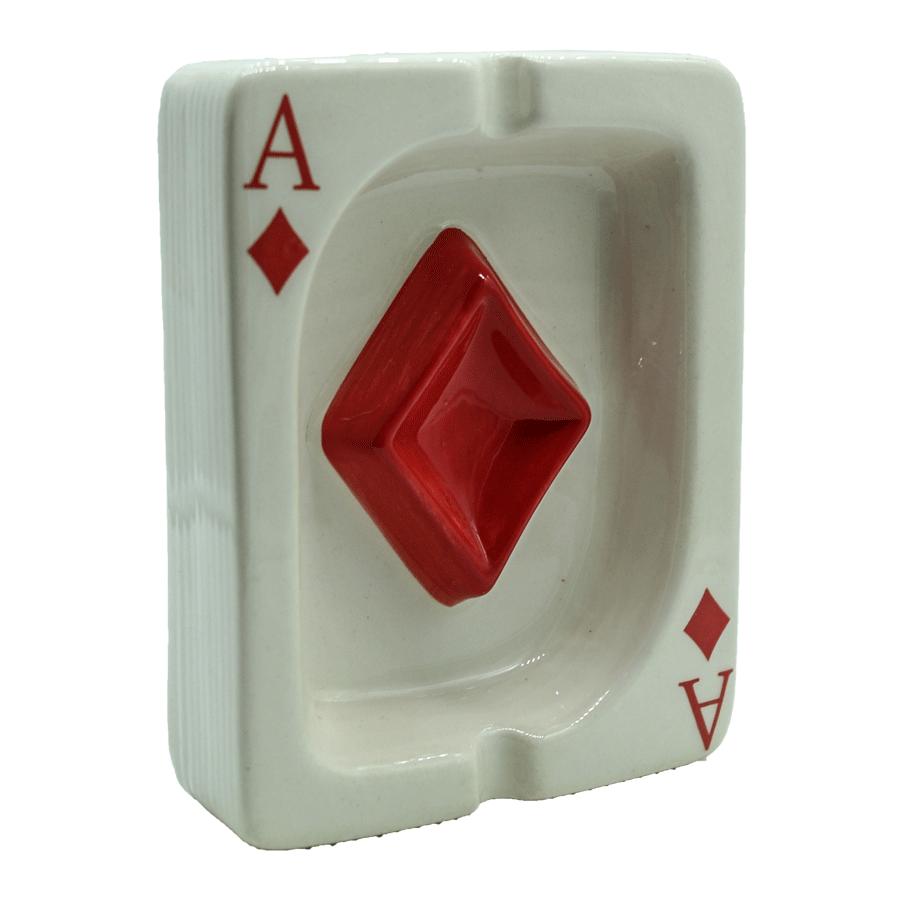 Cinzeiro de cerâmica carta baralho - Az de ouro