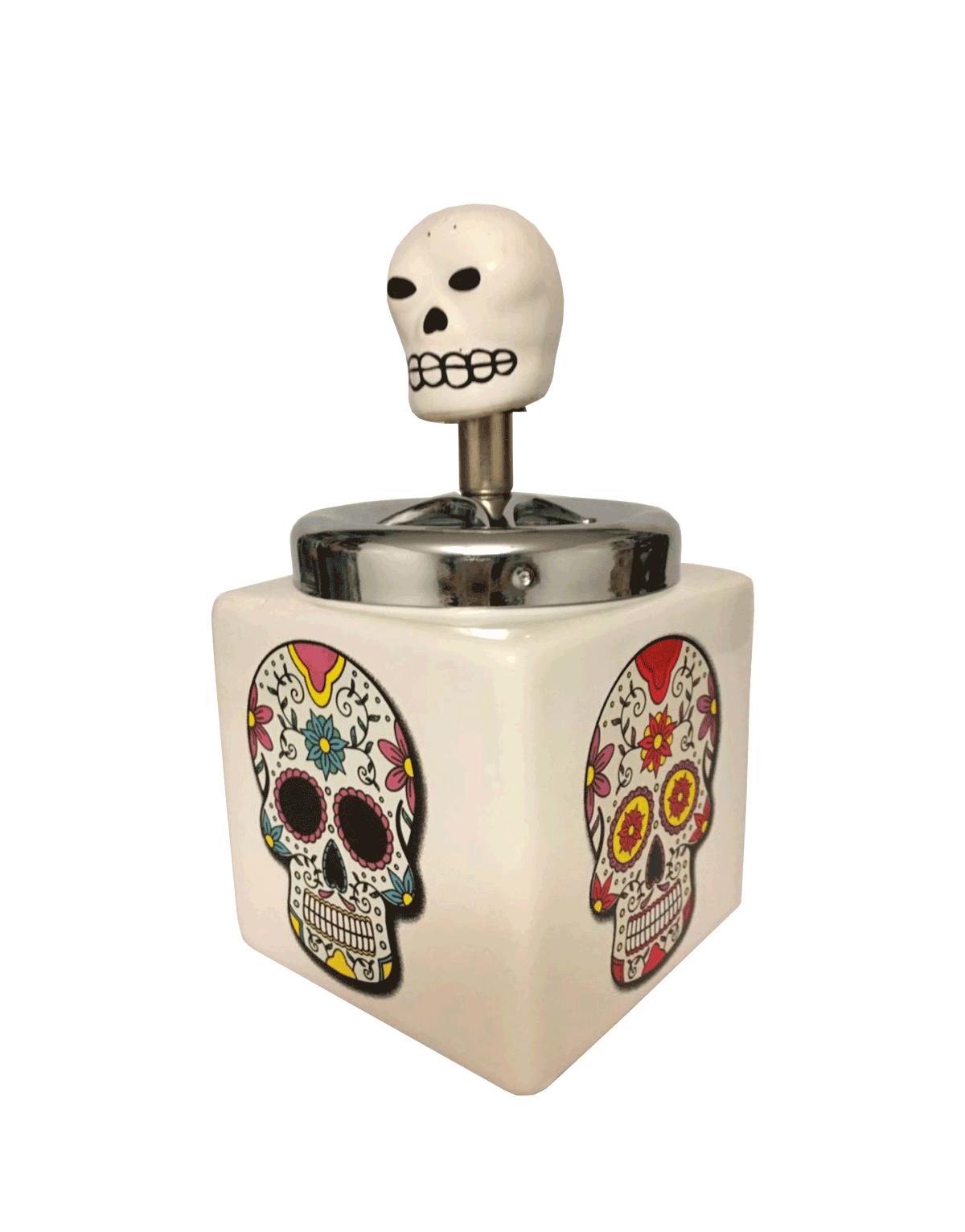 Cinzeiro de cerâmica de Caveira Mexicana