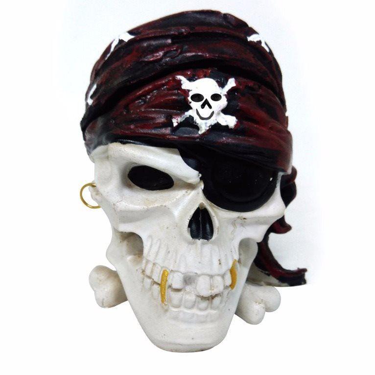 Cinzeiro Decorativo Crânio Caveira Pirata em Resina