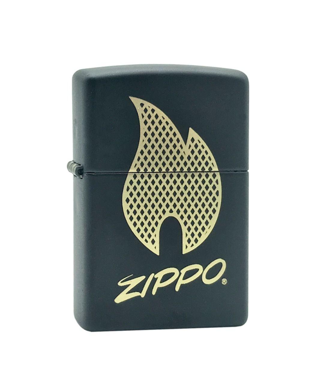 Isqueiro Zippo Script Logo Black Matte